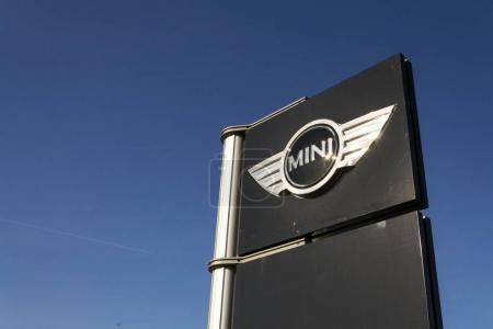 Mini automotive marque logo in front of dealership building on March 31, 2017 in Prague, Czech republic. BMW strikes set to disrupt Mini and Rolls-Royce production.