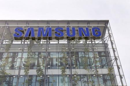 Samsung company logo on headquarters building