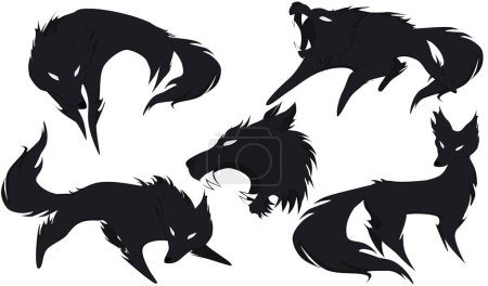 Illustration for 5 silhouettes of wolves options with a small share of the shadow, vector - Royalty Free Image
