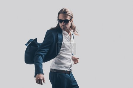 Stylish and handsome man with long hair
