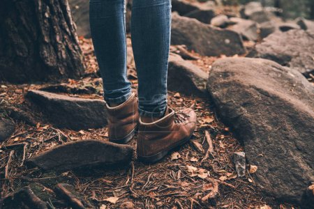 Photo for Partial view of woman legs in travel boots standing in forest - Royalty Free Image