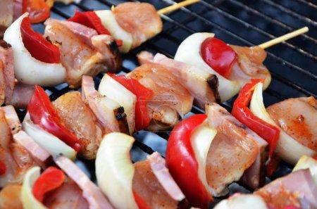 Photo pour De savoureuses brochettes avec du poulet et des légumes - image libre de droit