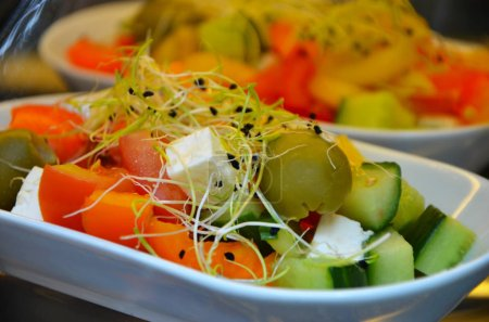 Photo for Tasty seasonal salad with fresh vegetables, cheese & germs - Royalty Free Image