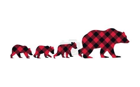 Illustration pour Buffalo Plaid Bear Family. Elle-Ours et ses trois petits. Illustration vectorielle de la faune . - image libre de droit