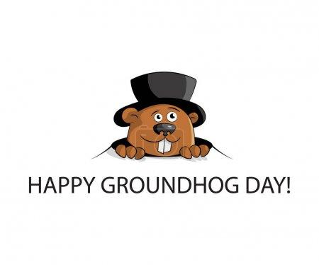 Photo pour Joyeux jour de la marmotte. marmotte chapeau regard de trou. Design plat. Illustration vectorielle . - image libre de droit
