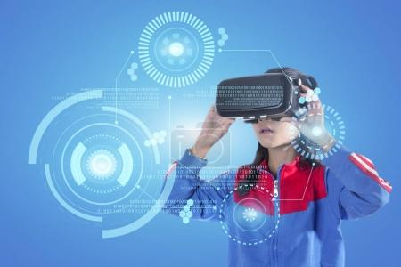 Photo for Girl with glasses of virtual reality. Future technology concept. - Royalty Free Image