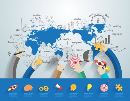 Illustration pour Business people working office corporate team concept, Avec des graphiques et des graphiques créatifs, des idées de plan de stratégie de réussite commerciale sur la carte du monde, Illustration vectorielle, conception de modèles de mise en page modernes - image libre de droit