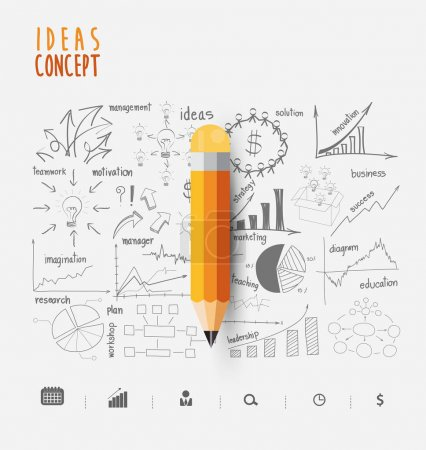 Illustration for Vector illustration with a simple pencil. Yellow pencil on the background of the sketch creative thinking drawing charts and graphs business success strategy plan ideas - Royalty Free Image