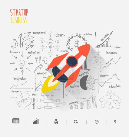 Startup business idea concept, Rocketship on inspiration
