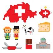 Switzerland icons set Pixel art
