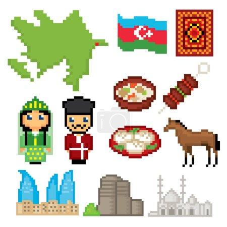 Azerbaijan icons set. Pixel art. Old school computer graphic style. Games elements.