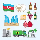 Azerbaijan icons set Pixel art Old school computer graphic style Games elements