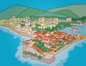 Resort town and marina Hand drawn vector illustration Budwa Montenegro