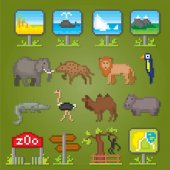 Zoo icons set Pixel art Old school computer graphic style Games elements
