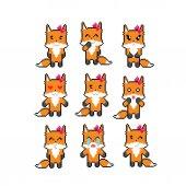 Fox emoji icons set Pixel art Old school computer graphic style Games elements