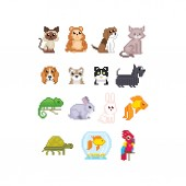 Pet set Cat dog aquarium fish parrot and turtle isolated vector illustration pixel art 80s style icons Stickers and embroidery design Logo design for pet shops mobile applications Old school