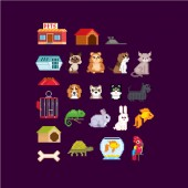 Pet accessories set Cat dog aquarium fish parrot and turtle isolated vector illustration pixel art 80s style icons Stickers and embroidery design Logo design for pet shops mobile applications