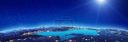 Photo for Black sea at night. Elements of this image furnished by NASA. 3d rendering - Royalty Free Image