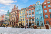 Colourful buildings in the european street of Gdansk, Long Market.