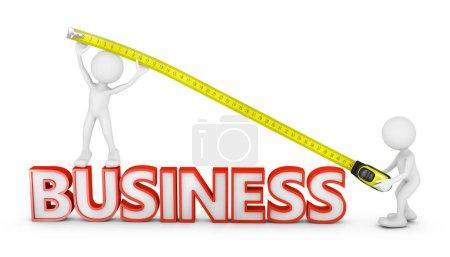 Foto de Mandos con cinta miden la longitud del negocio de inscripción volumétrica. - Imagen libre de derechos