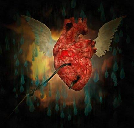 Photo pour Peinture surréaliste. Coeur ailé avec crochet intérieur. - image libre de droit