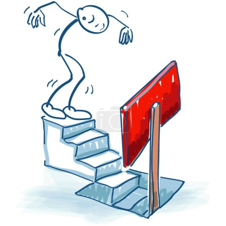 Illustration for Stick figure goes down a staircase and is warned by a sign - Royalty Free Image