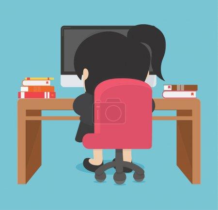 Illustration pour Femme d'affaires travaillant sur ordinateur - image libre de droit