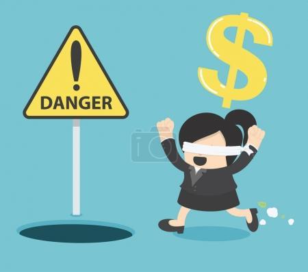 Illustration pour Femme d'affaires les yeux bandés courant pour trouver de l'argent avec trou de fosse. signes avertissent du danger - image libre de droit