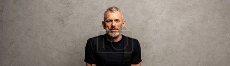 Photo pour Prise de vue panoramique de bel homme regardant la caméra sur gris - image libre de droit