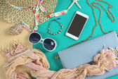 Fashion woman essentials, cosmetics, makeup accessories
