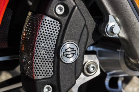 Indianapolis - Circa March 2017: Front Brake Caliper of a Harley Davidson. Harley Davidson Motorcycles are Known for Their Loyal Following III