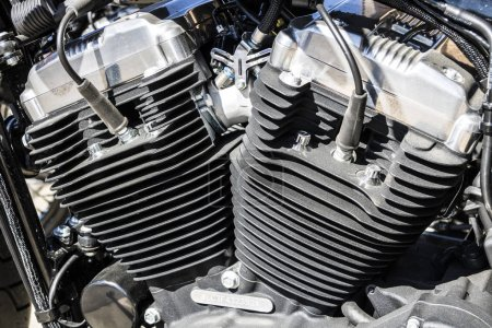 Indianapolis - Circa March 2017: Engine of a Harley Davidson. Harley Davidson Motorcycles are Known for Their Loyal Following V
