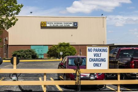Marion - Circa April 2017: Special area at the General Motors Metal Fabricating Division set aside for charging of the Chevrolet Volt EV Electric Vehicle V