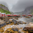 Traditional red wooden houses, rorbuer in the smal...