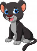 Cute baby black panther cartoon sitting isolated on white background