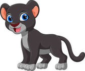 Cute black panther cartoon isolated on white background