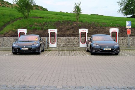 Tesla electric car recharge in