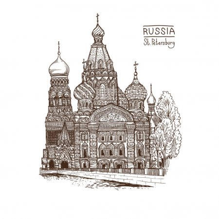 Vector sketch illustration. Tourist dostoprimechatelnost.Sobor Resurrection on Spilled Blood or Church of Our Savior in St. Petersburg, Russia
