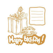 Happy Birthday Vector golden sketch illustration of gift box rosebud vase with cakes Place to record requests