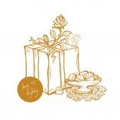 Happy Birthday Vector golden sketch illustration of gift box rosebud vase with cakes
