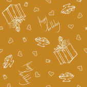 Vector seamless pattern with birthday greetings and hearts Gold background for gift wrapping box with ribbon and rose