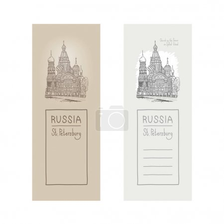 Vector sketch illustration of a design element postcards. Tourist showplace. Sobor Resurrection on Spilled Blood or Church Our Savior in Saint Petersburg, Griboyedov canal, Russia.