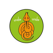Cartoon vector snake. reptile top view. Inscribed in a circle as an emblem green background.