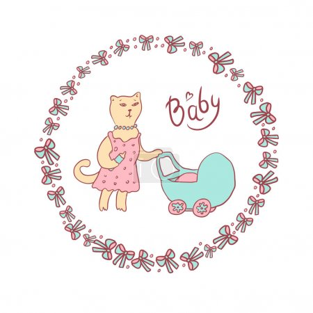 Vector cartoon illustration of a sketch in pastel colors. Mama cat walking with a baby stroller. Round frame with bows and balls.
