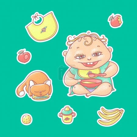 Illustration for Vector set of color illustrations stickers happy child and kitten. Apples, bananas, kasha and other baby food. The chubby curly kid eating porridge and red cat drinking milk or water. - Royalty Free Image
