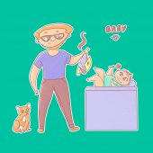 Textured vector funny illustration sticker Inexperienced dad with glasses and a beard took a stinky diaper from baby and tomcat looks Little infant on the changing table playing with a toy rattle