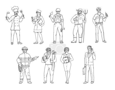 Personas de diversas profesiones en overoles y con herramientas en la mano. Dibujo vectorial en blanco y negro de una ilustración realista. Mujeres y hombres que trabajan en diferentes sectores de la producción y los servicios .