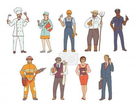 Personas de diversas profesiones en overoles y con herramientas en la mano. Dibujo en color vectorial de una ilustración realista. Mujeres y hombres que trabajan en diferentes sectores de la producción y los servicios .