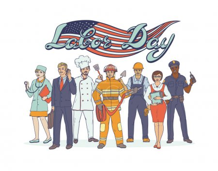 Gente diferentes profesiones. Día Nacional del Trabajo. Tarjeta de felicitación con bandera americana. Vector bosquejo arte pop ilustración ocupaciones conjunto. Mujeres y hombres que trabajan en los sectores de la industria y los servicios .