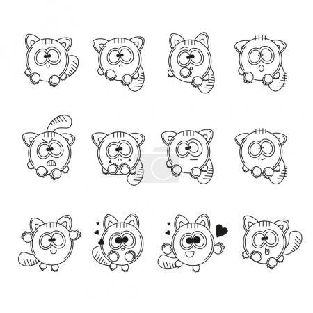 Illustration pour Set contour vectoriel illustrations personnage isolé dessin animé drôle chat autocollants émoticônes avec différentes émotions. Noir et blanc heureux, triste, aimant, en colère, surpris et effrayé chaton - image libre de droit